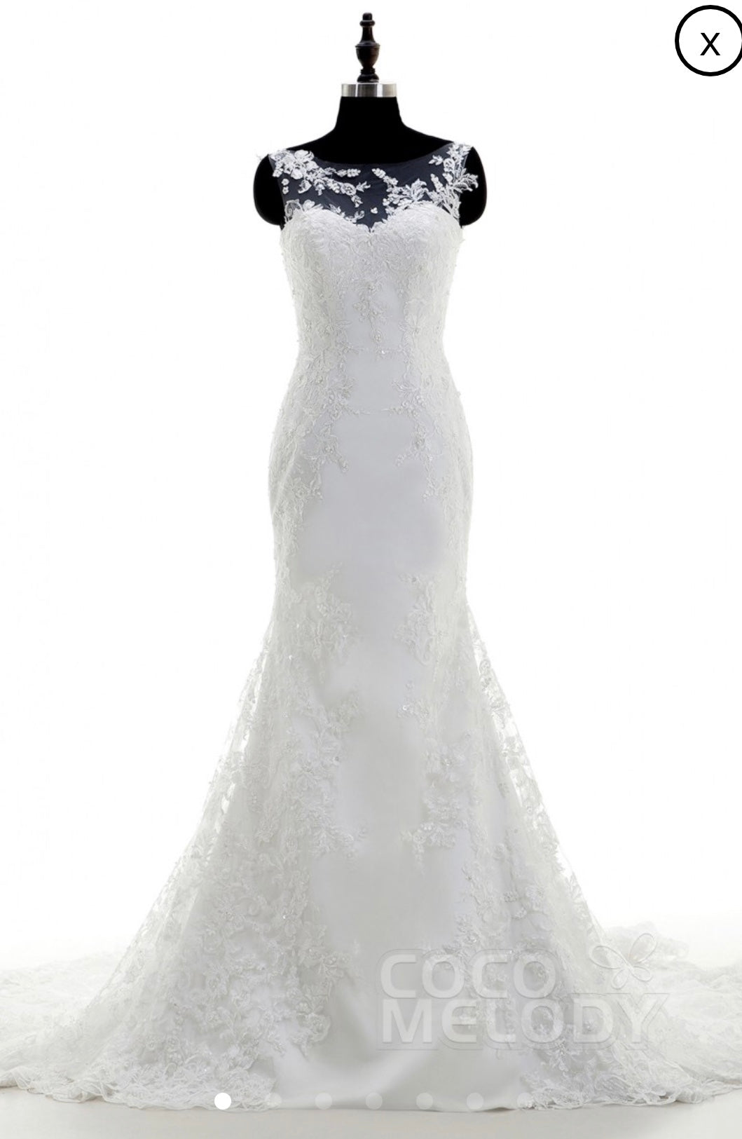 Custom 'Cocomelody' size 12 new wedding dress front view on mannequin