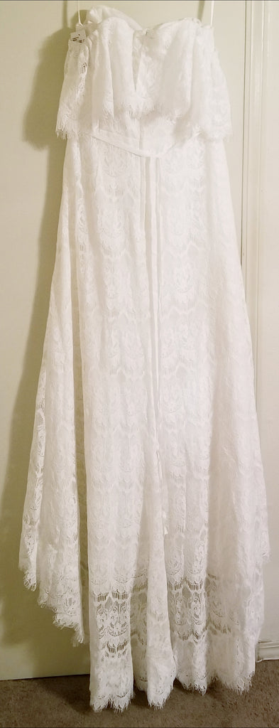 Galina 'Off the Shoulder' size 14 new wedding dress back view on hanger