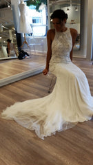 Rosa Clara 'Vega - Soft Collection' size 6 used wedding dress front view on bride