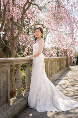 Jenny Yoo 'Morgan' size 6 used wedding dress side view on bride