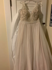 Allure 'Sequin' size 16 used wedding dress front view on hanger