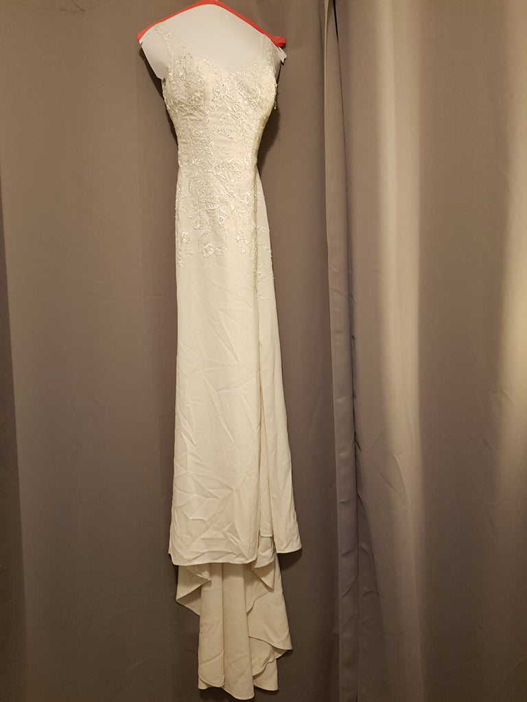 David's Bridal 'Crepe Sheath' size 0 used wedding dress front view on hanger