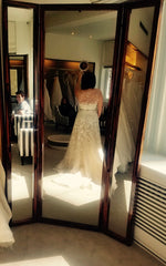 Carolina Herrera 'Addison' size 6 used wedding dress back view on bride