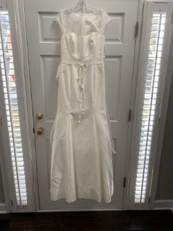 Alyne '185' size 10 sample wedding dress front view on hanger