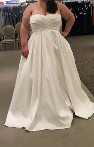 David's Bridal 'Faille Empire Waist' size 20 new wedding dress front view on bride