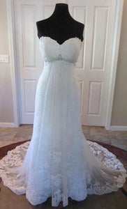 Kenneth Winston '1518' size 12 new wedding dress front view on mannequin