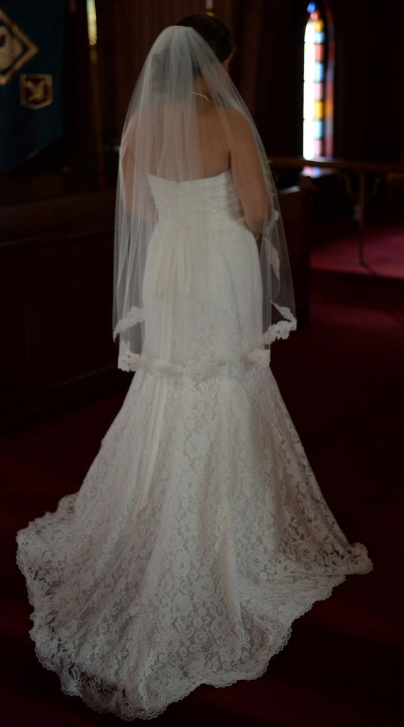 Mori Lee 'Madeline Gardner 5102' size 12 used wedding dress back view on bride