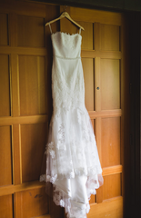 Enzoani 'Olva' size 8 used wedding dress front view on hanger