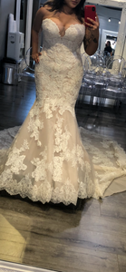 Enzoani 'Melanie' size 10 new wedding dress front view on bride
