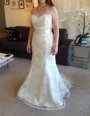 Aria 'Jacqueline' size 6 used wedding dress front view on bride