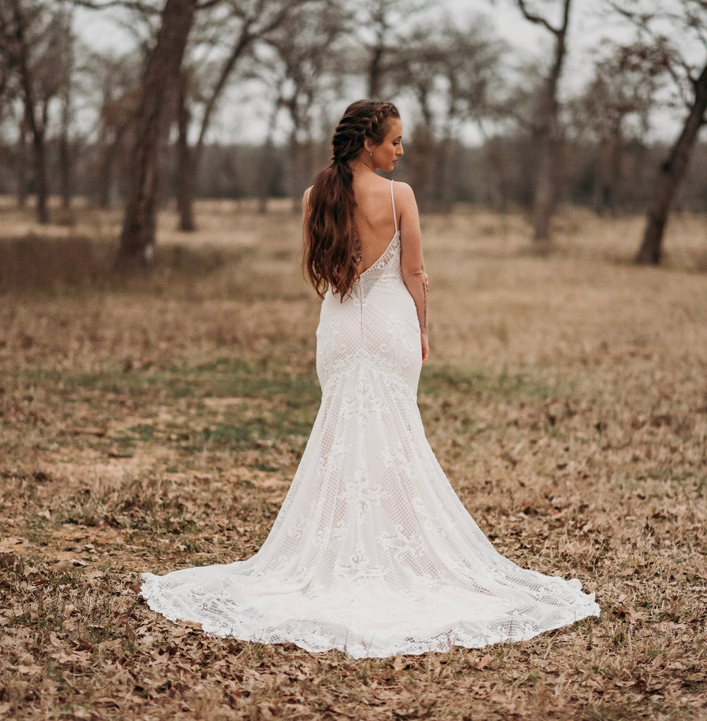 Crystal Design 'Fler' size 8 used wedding dress back view on bride