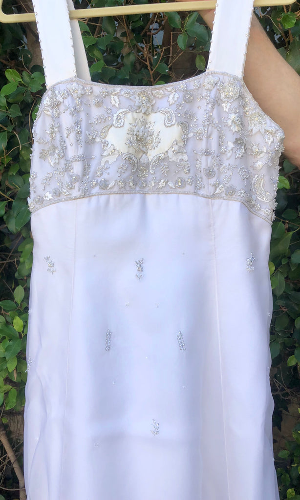 Melissa Sweet 'Beaded A-Line' size 16 used wedding dress close up view