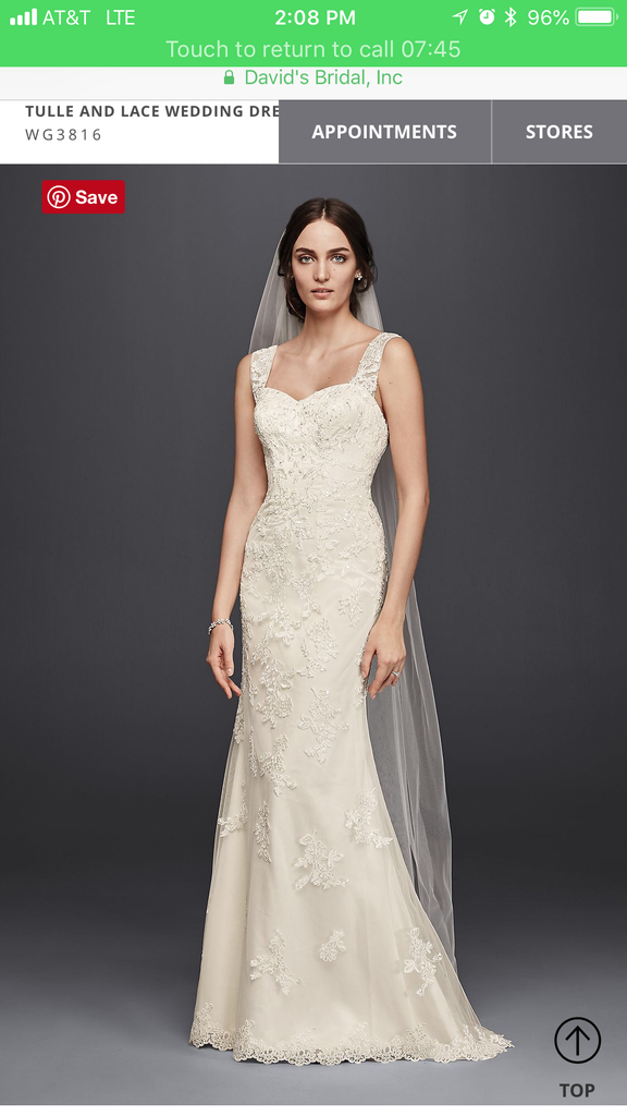 9544b3bd7aee David's Bridal 'Tulle and Lace' size 14 new wedding dress front view ...