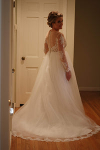 Custom 'Sexy Country' size 8 used wedding dress back view on bride