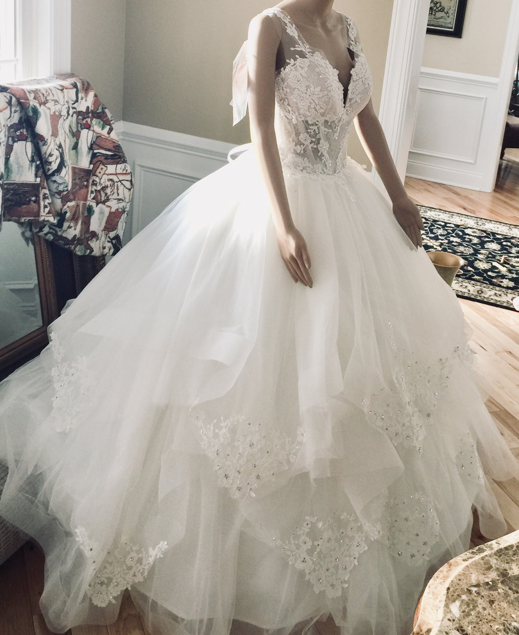 Pnina Tornai 'Love' size 12 new wedding dress side view on bride