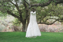 Allure 'Romance' size 8 used wedding dress front view on hanger