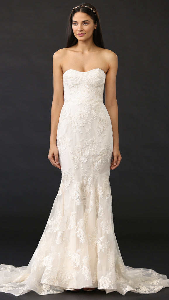 Marchesa 'Daphne' size 2 used wedding dress front view on model