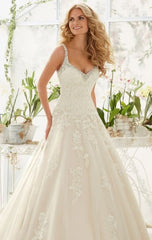 Mori Lee '2811' size 12 used wedding dress front view on model