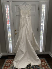 Alyne '185' size 10 sample wedding dress back view on hanger