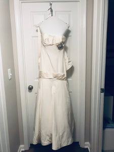 Priscilla of Boston 'Platinum Collection' size 4 used wedding dress front view on hanger