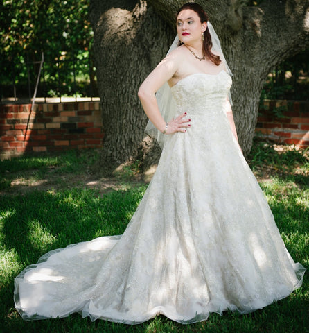 Oleg Cassini 'Strapless Sweetheart Ball Gown With Silver and Bronze Lace Accents'