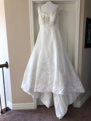 Jasmine 'F976' size 12 sample wedding dress front view on hanger