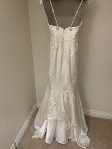 Pronovias 'Drens' size 4 used wedding dress back view on hanger