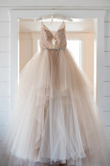 Lazaro 'Ballerina Tulle' size 18 used wedding dress front view on hanger