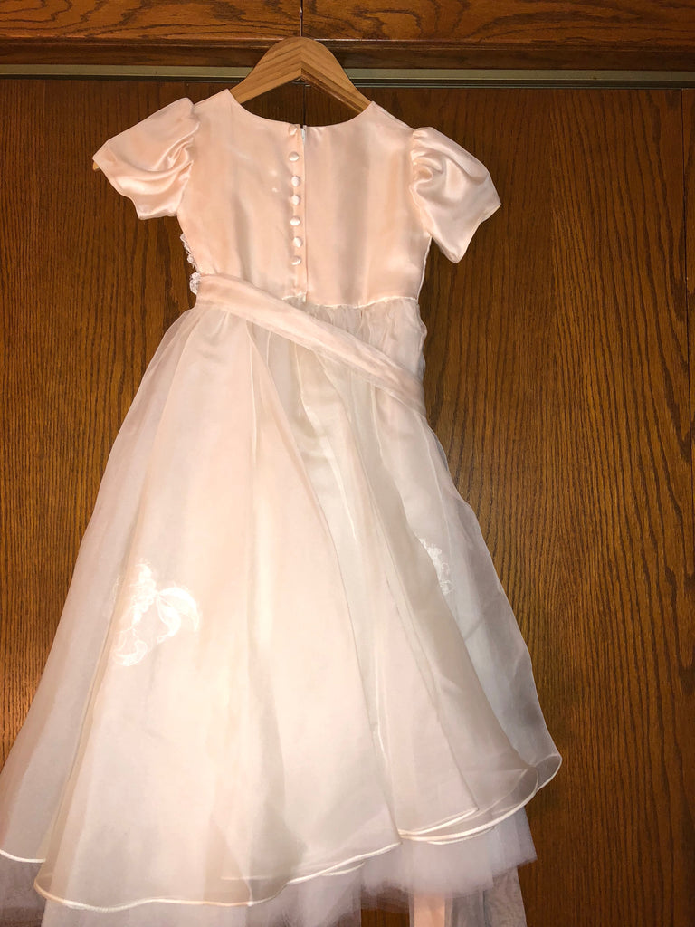 0e63fd4c5af Exquisite Brides  Dusty Pink and Ivory Layered Lace Appliquéd Flower Girl  Dress-112