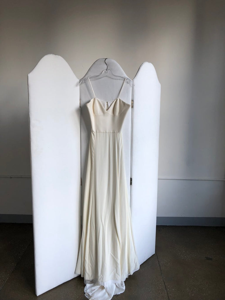Alexandra Grecco 'Emma' size 8 sample wedding dress front view on hanger