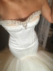 Maggie Sottero 'Ivory Mermaid' size 2 new wedding dress front view on bride