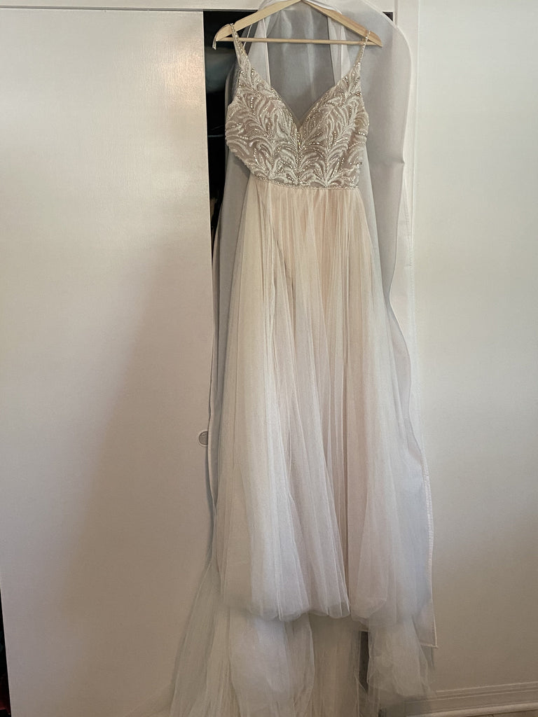 Maggie Sottero 'Charlene' size 6 used wedding dress front view on hanger