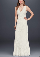 Load image into Gallery viewer, Galina 'Flower Lace V-Neck' size 8 new wedding dress front view on model