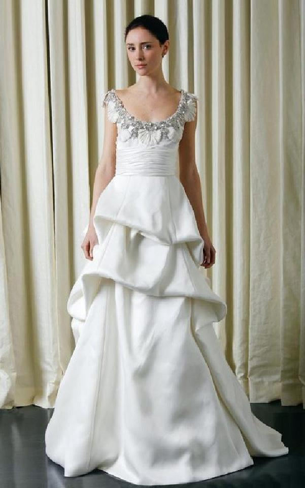 Monique Lhuillier 'Rhianna' size 10 used wedding dress front view on bride