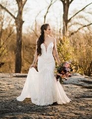 Crystal Design 'Fler' size 8 used wedding dress front view on bride