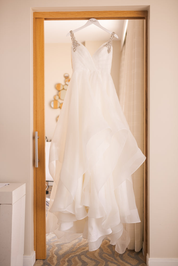 Hayley Paige 'Dare' size 6 used wedding dress front view on hanger