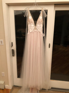 Floravere 'B. Morisot' size 6 sample wedding dress front view on hanger