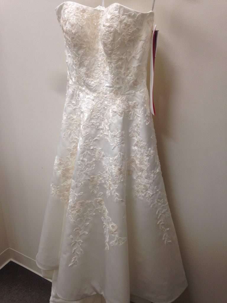 Oleg Cassini 'Embroidered Satin' size 6 new wedding dress front view on hanger