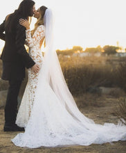 Load image into Gallery viewer, Michael Costello 'Custom' size 4 used wedding dress side view on bride