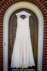 Casablanca 'sea breeze ' wedding dress size-12 PREOWNED