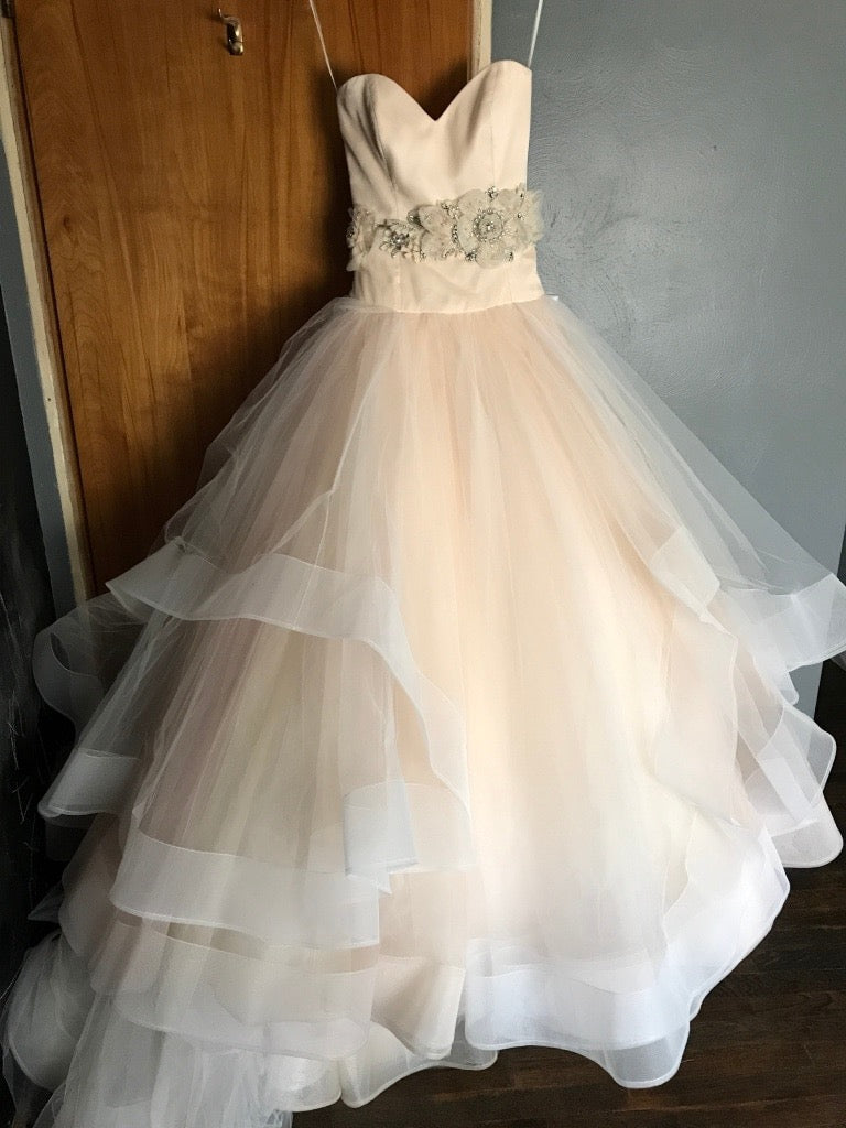 8ddb08f1b041 Lazaro '3250' size 2 used wedding dress front view on hanger