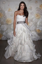 Load image into Gallery viewer, Jim Hjelm Semi Sweetheart Ruffled Ball Gown with Platinum Sash - Jim Hjelm - Nearly Newlywed Bridal Boutique - 1