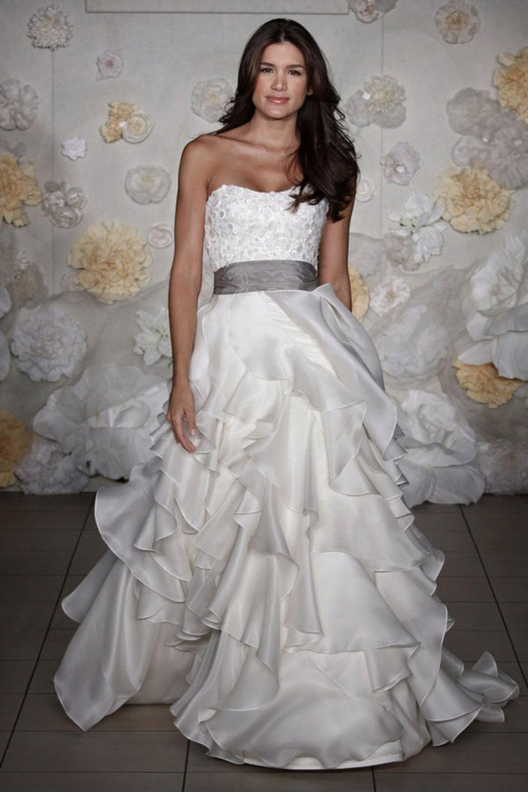 Jim Hjelm Semi Sweetheart Ruffled Ball Gown with Platinum Sash - Jim Hjelm - Nearly Newlywed Bridal Boutique - 1
