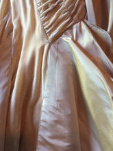 Load image into Gallery viewer, Christian Dior 'Galliano Peach Velvet' size 4 used wedding dress front view of train