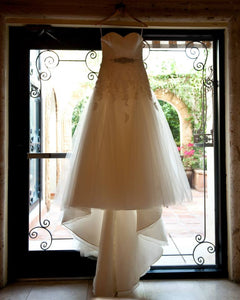 La Sposa '3797783' size 10 used wedding dress front view on hanger