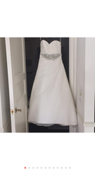 Pronovias 'Sweetheart Sparkle Princess' size 6 used wedding dress front view on hanger