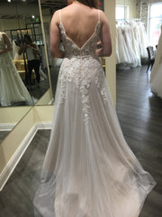 Mon Cheri Bridal '118136' size 10 sample wedding dress back view on bride