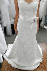 Paloma Blanca 'Modern' size 8 used wedding dress front view on bride