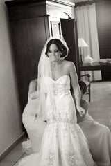 Lazaro Dropped Waist Beaded Mermaid Wedding Dress - Lazaro - Nearly Newlywed Bridal Boutique - 1