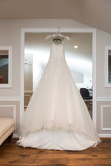 Anjolique Bridal '46319' size 6 used wedding dress front view on hanger